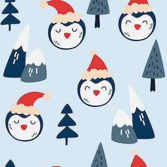 귀여운 펭귄 얼굴 완벽 한 패턴입니다. 펭귄 산과 크리스마스 나무와 겨울 배경입니다. 크리스마스 테마의 디자인을 위한 새해 패턴입니다. 섬유, 벽지용으로 인쇄하십시오. 벡터