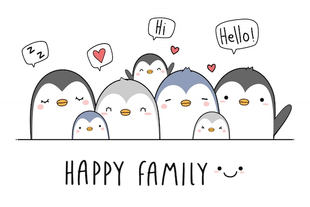 Cute penguin family greeting cartoon