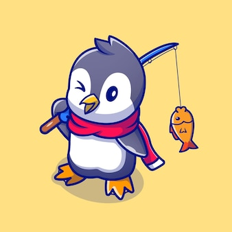 Cute penguin fishing cartoon character. animal nature isolated.