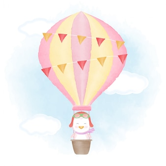 Cute penguin floating on hot air balloon illustration