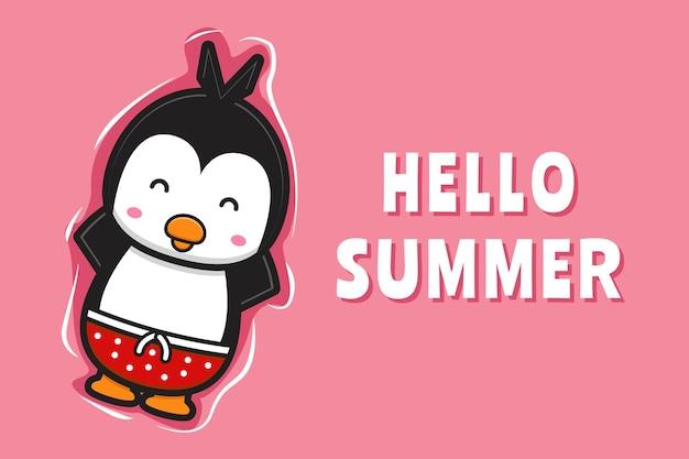 Симпатичный плавающий пингвин расслабляется с летним поздравительным баннером мультяшный значок иллюстрации