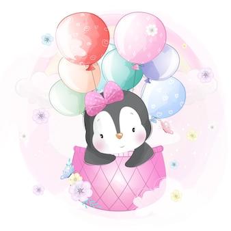 Милый пингвин летит на воздушном шаре