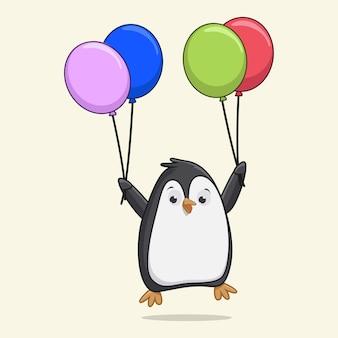 Милый пингвин летит с воздушными шарами