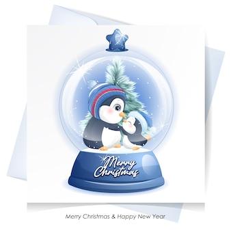Милый пингвин на рождество с акварельной картой