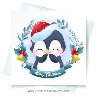 水彩イラストとクリスマスのためのかわいいペンギン