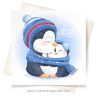 Милый пингвин на рождество с акварельной иллюстрацией