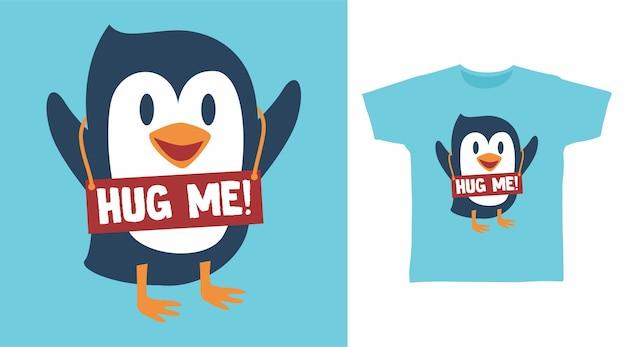 Tシャツデザインのかわいいペンギン