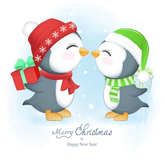 Cute penguin and gift box winter and christmas season illustration