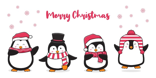 Cute penguin greeting merry christmas cartoon doodle card background illustration
