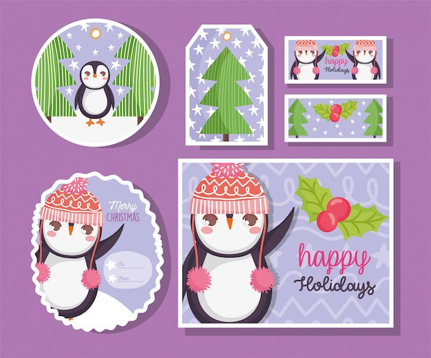 Cute penguin happy merry christmas