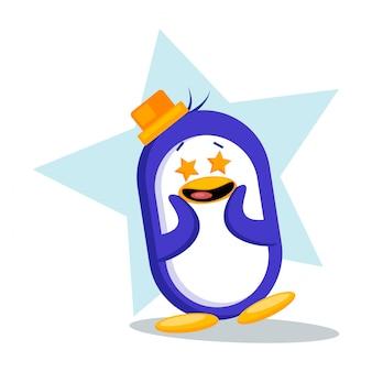 Cute penguin having star eyes