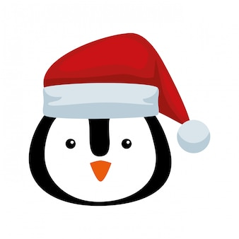 Cute penguin head with santa claus hat