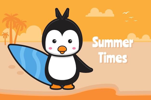 Милый пингвин держит доску для плавания с летним приветствием баннер мультяшный значок иллюстрации