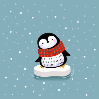 Cute penguin on the ice floe.
