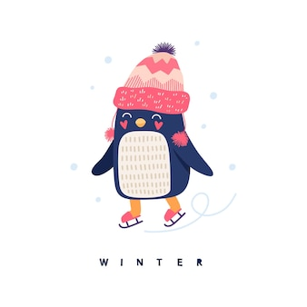 Cute penguin ice skating, winter, snowflakes. cartoon illustration for children.