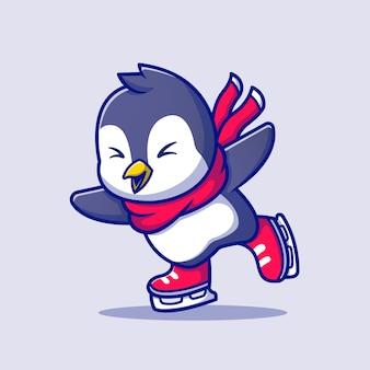 Милый пингвин на коньках с шарфом мультфильм значок иллюстрации. концепция значок спорта животных премиум. мультяшном стиле