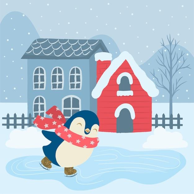 かわいいペンギンのアイススケート