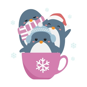 Cute penguin illustration for holiday decoration
