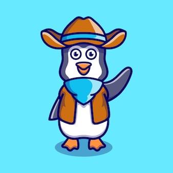 Cute penguin illustration wearing cowboy clothes