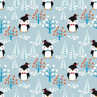 クリスマスのテーマのシームレスなパターンでかわいいペンギン