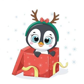 선물 상자에 귀여운 펭귄.