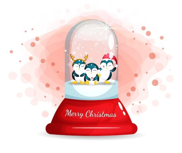 크리스마스 날 유리 접속이에 귀여운 펭귄