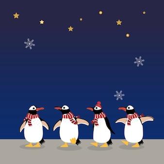 冬の衣装でかわいいペンギンクリスマスの夜の背景。