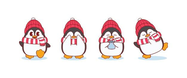 Милый пингвин зимой в шарфе