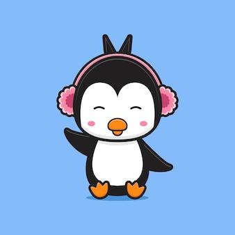 Cute penguin listening music cartoon icon illustration. design isolated flat cartoon style