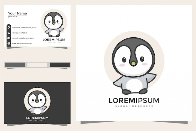 Cute penguin logo and business card