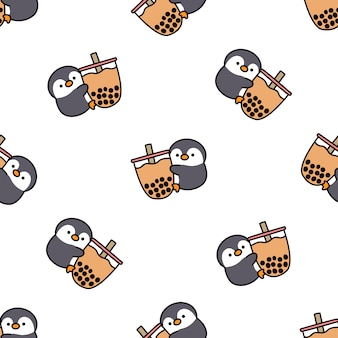 Cute penguin loves bubble tea cartoon seamless pattern