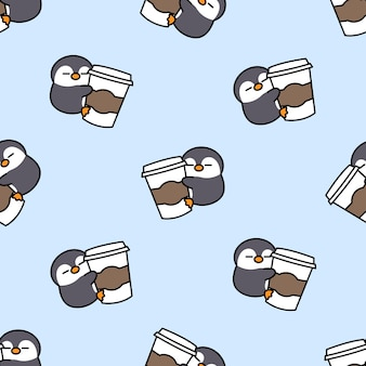 かわいいペンギンはコーヒー漫画のシームレスなパターンが大好きです