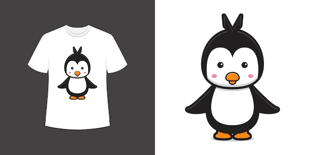 かわいいペンギンのマスコットキャラクターtシャツスタイルと流行の服のデザインプリント、ベクトルイラスト。