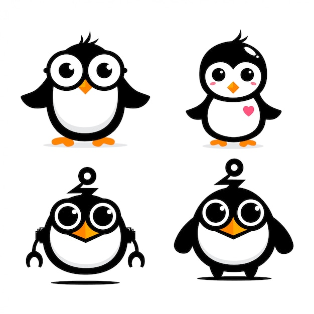 Cute penguin mascot vector design