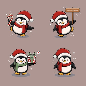 クリスマスをテーマにしたかわいいペンギンのマスコット