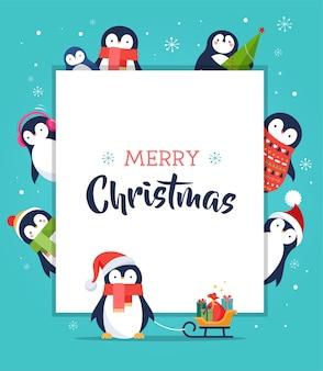 かわいいペンギン-メリークリスマスグリーティングカード