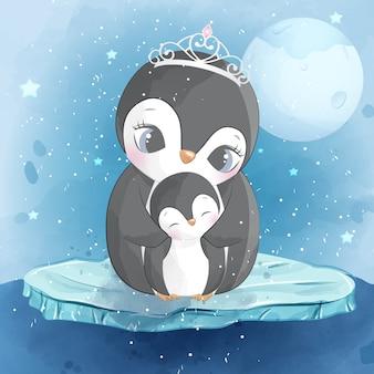 Милый пингвин мать и сын