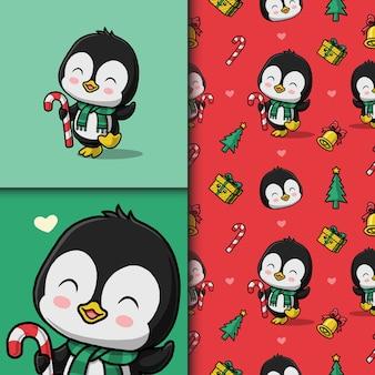 クリスマスにかわいいペンギン。シームレスなパターンとカード。