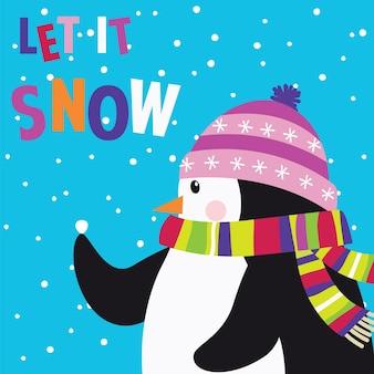 Милый пингвин на снегу с буквой let it snow