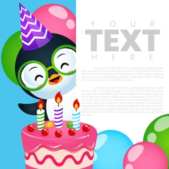 Шаблон баннера приглашения на день рождения на вечеринку милый пингвин