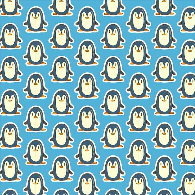 Cute penguin pattern on blue