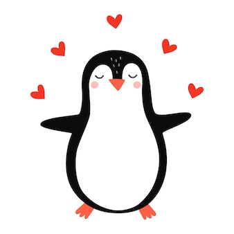 Cute penguin penguin in love vector hand drawn illustration for romantic prints valentine day