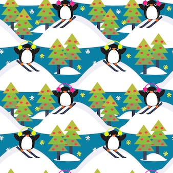 Cute penguin play ski in forest.