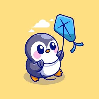 Cute penguin playing kites cartoon