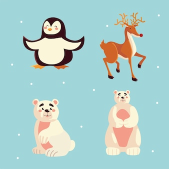 Cute penguin polar bear reindeer animals icons illustration