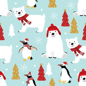Cute penguin and polar bear in winter costume seamless pattern