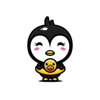 泳ぐ準備ができているかわいいペンギン
