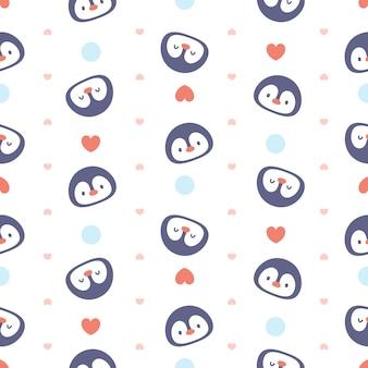 Cute penguin seamless pattern background