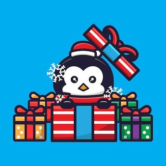 크리스마스를 축하하는 귀여운 펭귄