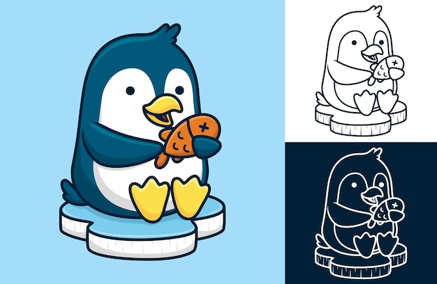 Cute penguin sitting on ice chunk while holding fish. cartoon illustration in flat style